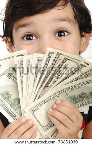 Very cute boy with money, dollars in hands