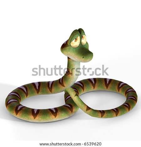 very cute cartoon snake lying on the floor image contains a Clipping Path / Cutting Path