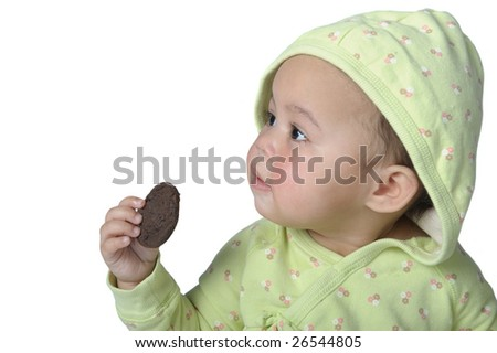 very cute Image of a little girl with a cookie
