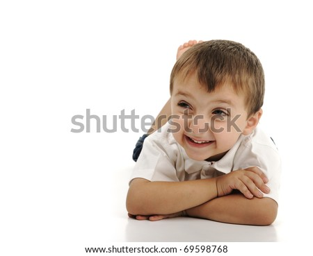Very cute positive smiling little boy, isolated. Large copy-space.