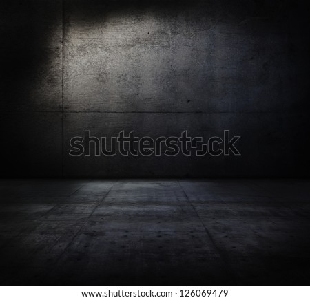 Very Dark And Dim Concrete Room.
