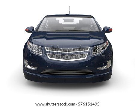 Very dark blue modern electric car - front view closeup - 3D Render