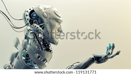 Very detailed 3d robotic man gesturing / Asking cyborg