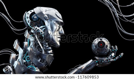 Very detailed 3d robotic man / Stylish robot in profile with cam