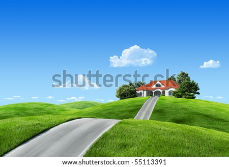 Very detailed 6000px house on green meadow - Nature collection