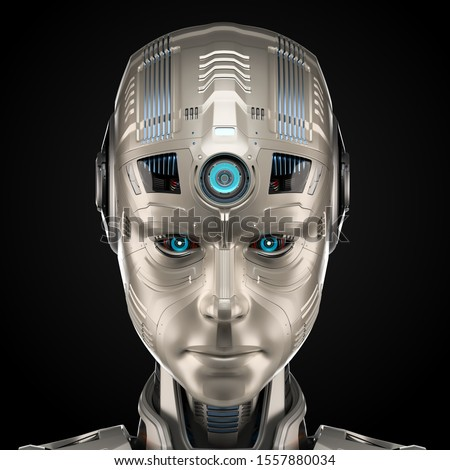 Very detailed robot face or humanoid cyborg head with serious or angry look. Front view isolated on black background. 3d render Stock fotó ©