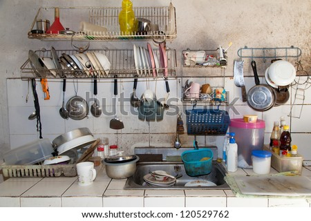 Very dirty kitchen, Should be cleaned.