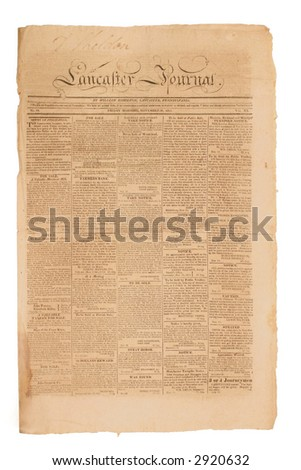 Very early American newspaper of  1813. - stock photo