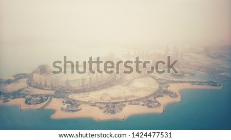 Aerial view on Doha - capital city of Qatar Images and Stock Photos