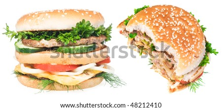 Very good cheeseburgers isolated on white background.