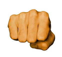 Very hairy knuckles from the fist of a man punching, orange skin