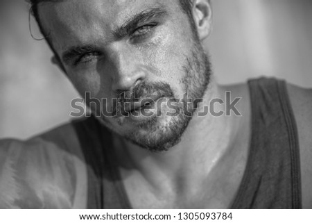 Very Handsome Caucasian Male Model Posing on Beach Wall (Black and White) #1305093784
