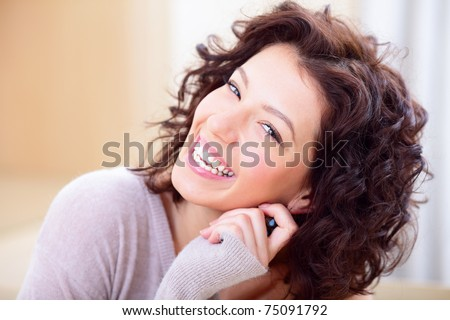 Very happy and cheerful young lady - stock photo
