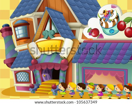 Very happy and colorful scene of kids in queue to the yogurt shop - drawing for children
