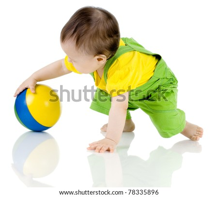 very happy, beautiful,  joy, little kid , play with ball on white background