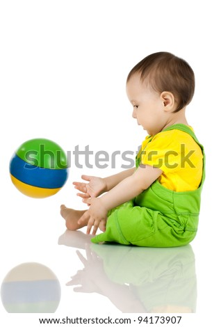 very happy, beautiful,  joy, little kid , play with ball on white background, isolated