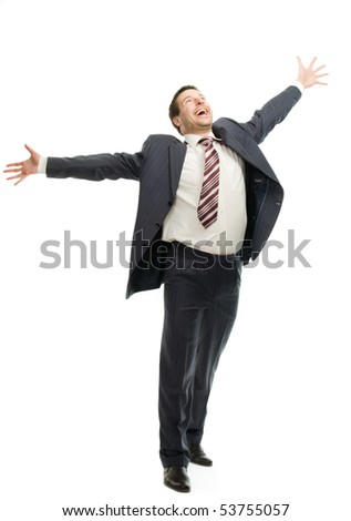 Very happy businessman isolated on white background