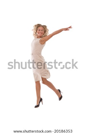 very happy businesswoman jumping high with a smile