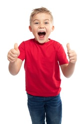 VERY HAPPY LITTLE BOY LAUGHING AND POINTING FINGERS UP WHILE LIKING ISOLATED ON WHITE BACKGROUND