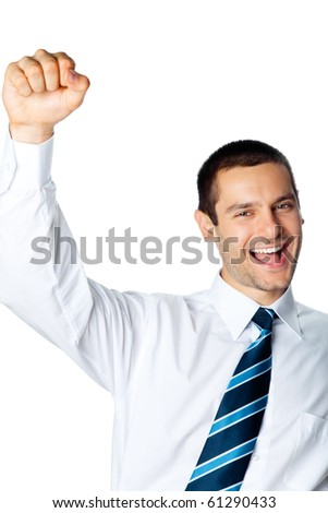 Very happy successful gesturing businessman, isolated on white