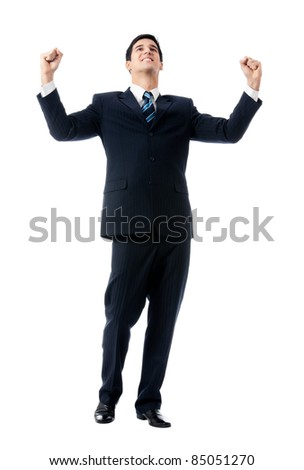 Very happy successful gesturing young business man, isolated on white background