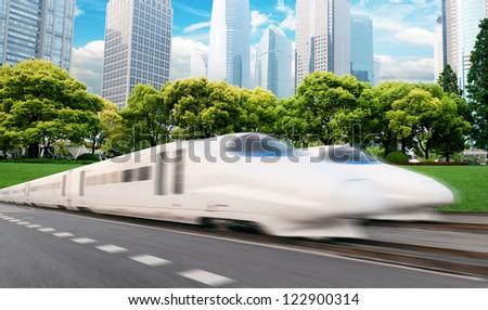 very high-speed train go through the shanghai financial center .