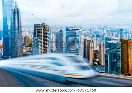 very high-speed train go through the  shanghai  financial center .