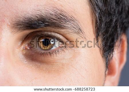 Very intense look of brown eye of man #688258723