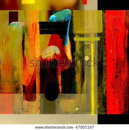 Very interesting abstract painting On Glass in verso