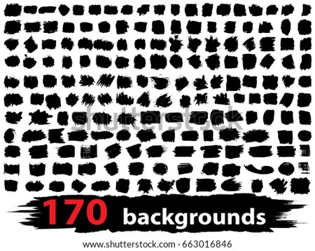 Very large collection or set of 170 artistic black paint or ink hand made creative brush stroke backgrounds isolated on white as grunge or grungy art, education abstract elements frame design #663016846