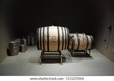Very large new wooden wine barrel