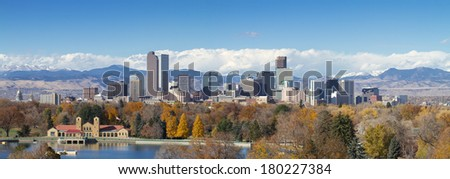 Very large panorama of Denver, Colorado skyline, with Rocky Mountains in the background.