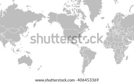 Very Light Grey World Map Centered On United States Of America With - Us-centered-world-map