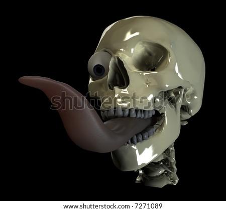 very long tongue and one eye of human skull