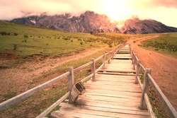 very long wood journey path with fantastic scene in Lijiang China.