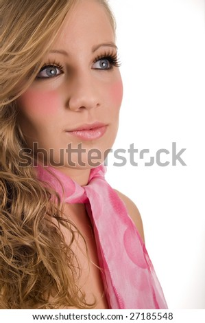 very lovely girl with perfect make-up and scarf