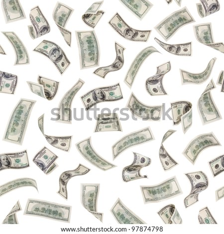 very many  mass currency note of dollars, boundless square background, isolated