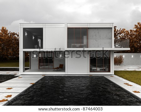 Very modern house visualization, contemporary architecture in autumn scenery, backyard view with terrace and pool.