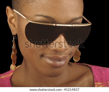 Very nice Image of a Afro American Woman on black - stock photo