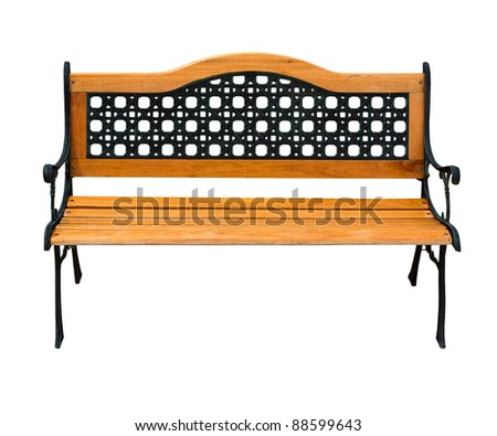 very nice old renovated high quality stylish garden wooden and cast-iron bench isolated over a white background