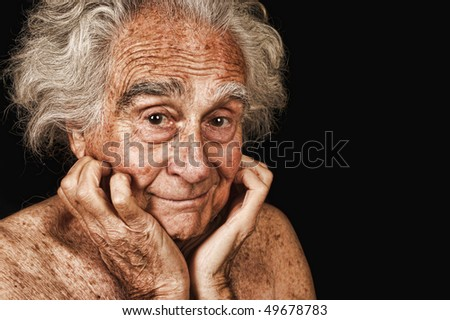 Very Nice Portrait Of a Elderly man on Black