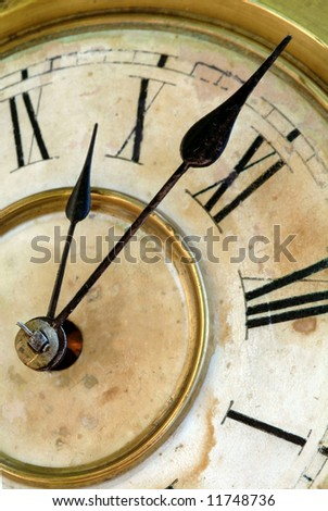Very old and grunge clock face, time concept