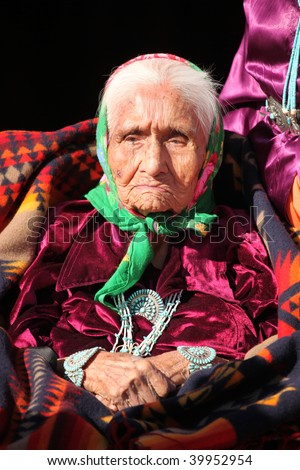 Very Old and Wise Navajo Elder Wearing Traditional Jewelry