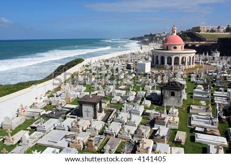 Very old cemetery on the Puerto Rican coast, San Juan.