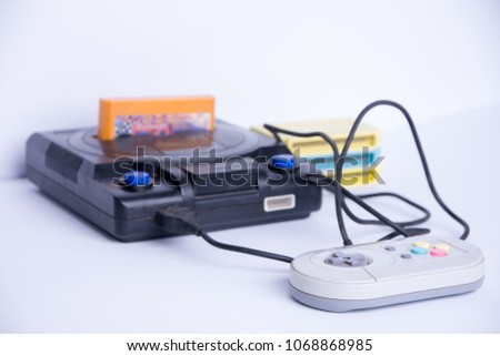 Very old console on a white background