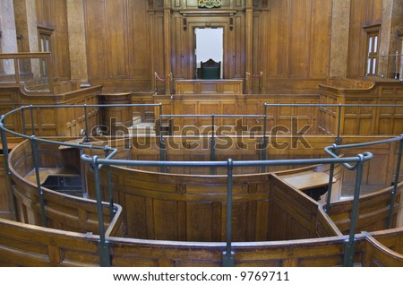 Very old crown courtroom (1854) with Judges chair at St Georges Hall, Liverpool,UK