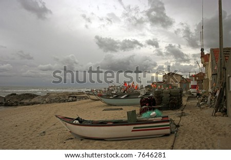 Very old fisherman village of Vila Cha in the north of Portugal just before night and storm