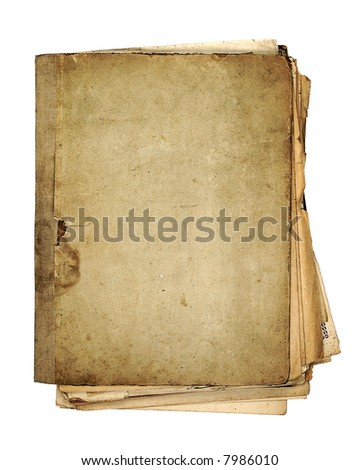 very old folder  with sheets of paper