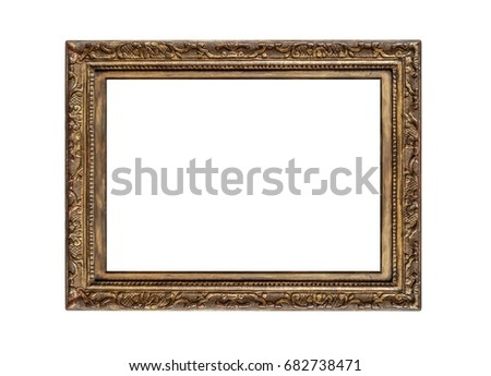 Very old golden frame isolated on white background. #682738471