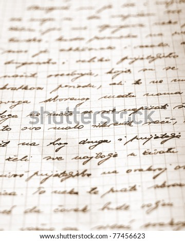 Very old handwritten letter. Shallow depth of field - stock photo